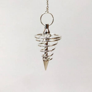 Péndulo espiral metal plateado