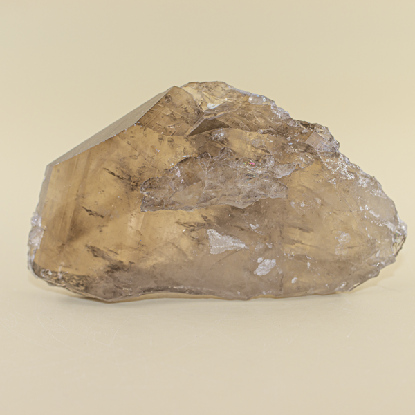 Punta plana de cuarzo ahumado con cuarzo blanco
