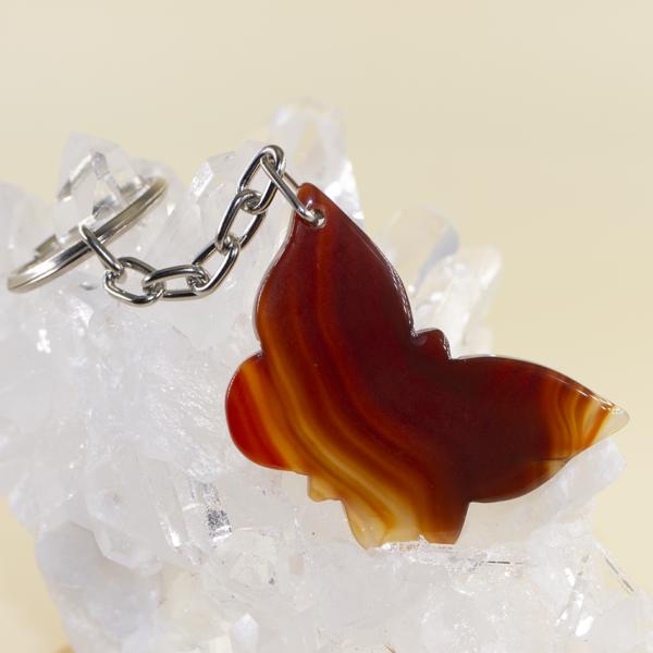 Llavero mariposa de ágata cornalina